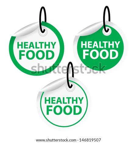 Healthy food tags. Vector - stock vector