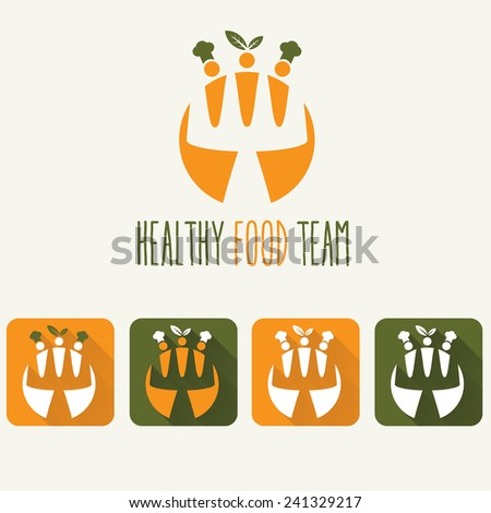 healthy food team illustration and web icons - stock vector