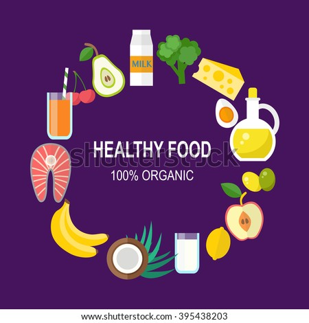 Healthy food vector template. Organic products concept. Flat style design, vector illustration - stock vector
