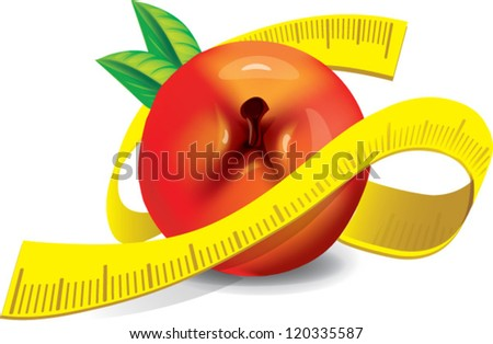 Healthy - fresh Apple with measuring tape - stock vector