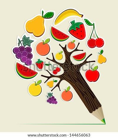 Healthy fruit eating stitch concept pencil tree. Vector illustration layered for easy manipulation and custom coloring. - stock vector