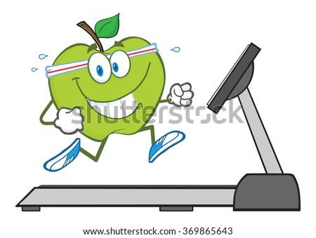 Healthy Green Apple Cartoon Character Running On A Treadmill. Vector Illustration Isolated On White - stock vector