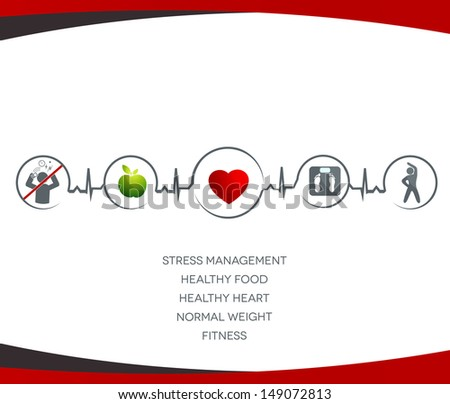 Healthy  heart  and  Wellness illustration.  Healthy food, no stress,  normal weight and fitness leads to healthy heart and life. Symbols connected with heart rate monitoring line. - stock vector