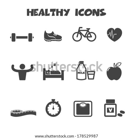 healthy icons, mono vector symbols - stock vector