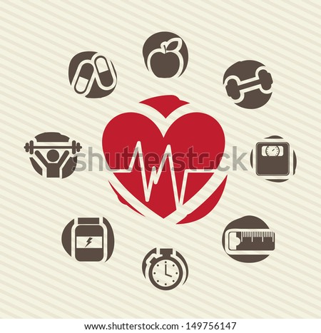 healthy icons over lineal background vector illustration  - stock vector