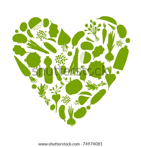 Healthy life - heart shape with vegetables for your design - stock vector