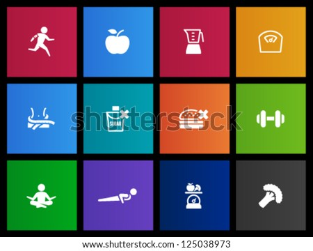 Healthy life icon in Metro style - stock vector