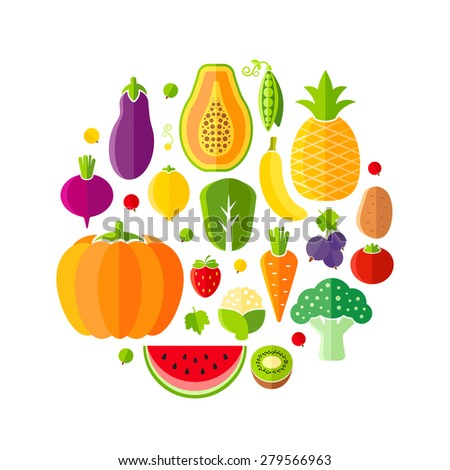 Healthy lifestyle design element with fruits and vegetables - stock vector