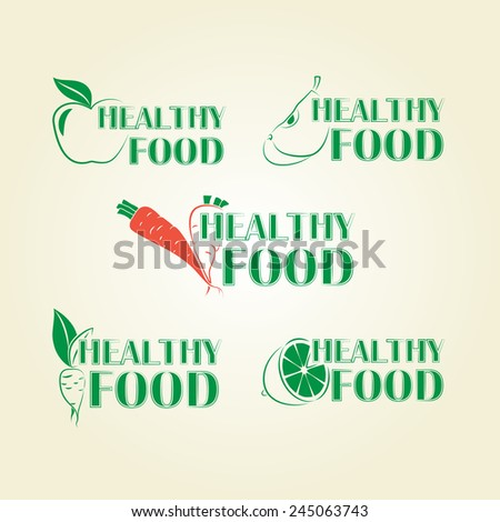 Healthy lifestyle icons in green. Modern style - stock vector