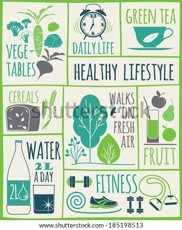 healthy lifestyle Icons set - stock vector