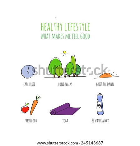 Healthy lifestyle info graphic, doodle hand drawn illustration.  - stock vector