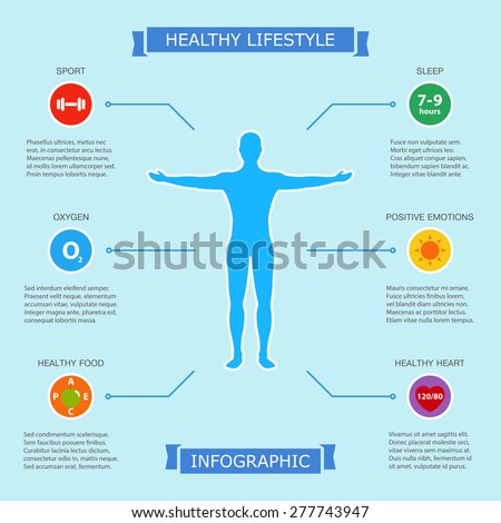 healthy lifestyle infographic with human body, showing six easy way to be health and beauty. infographic design on blue background. vector illustration - stock vector