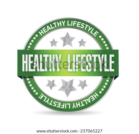 healthy lifestyle seal illustration design over a white background - stock vector
