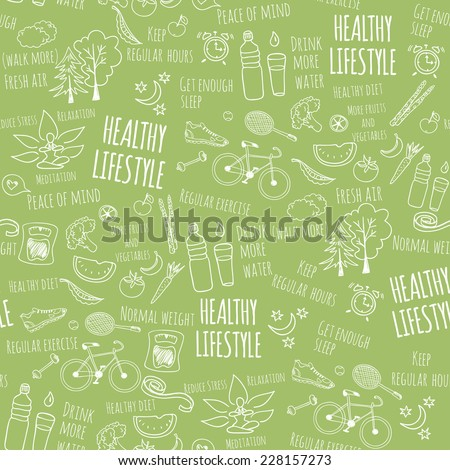 Healthy lifestyle seamless pattern on green background. Vector illustration  - stock vector