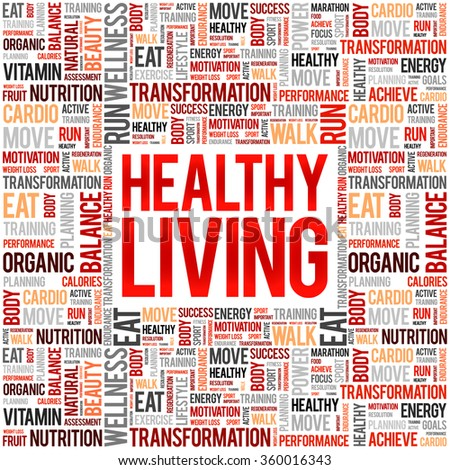 Healthy Living word cloud background, health concept - stock vector