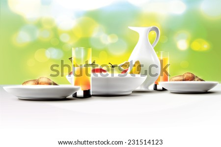 Healthy morning breakfast table for two.  - stock vector