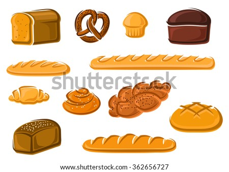 Healthy natural whole grain, wheat and rye loaves of bread, french baguette and croissant, sweet cake, cinnamon and plaited buns, bavarian pretzel. Bakery and pastry products - stock vector