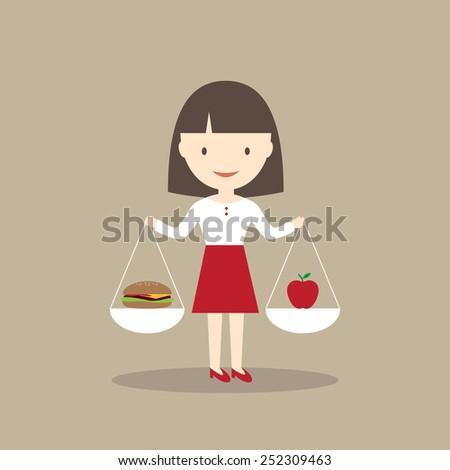 Healthy or unhealthy food illustration - stock vector