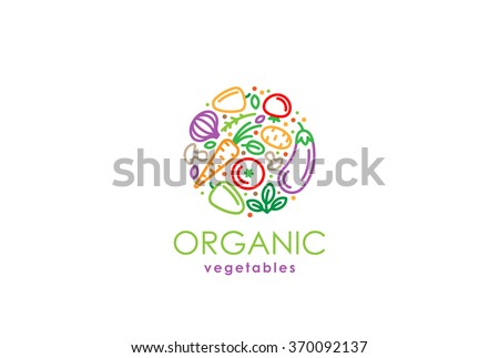 Healthy Organic eco vegetarian food Logo design vector template. Ecology fresh from farm vegetables Logotype concept icon. - stock vector
