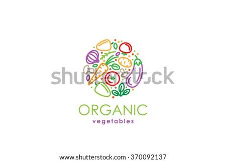 Healthy Organic eco vegetarian food Logo design vector template. Ecology Health eco Organic Logo fresh from farm vegetables Logotype concept icon. - stock vector