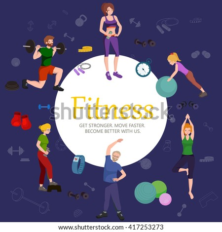 healthy people workout in gym isolated vector illustration, fitness woman and man training exercise, activity sport lifestyle, weight loss people design background, body fit and wellness - stock vector