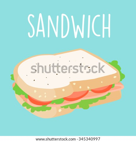 healthy sandwich cartoon vector illustration - stock vector