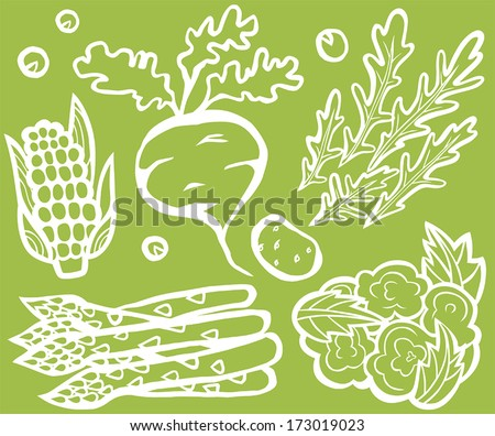 Healthy Vegetable Set White Outline On Green Background: Corn, Beetroot, Rocket, Potato, Asparagus, Cauliflower and Peas - stock vector
