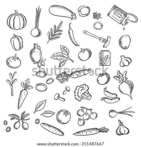 Healthy vegetables flat icons with fresh tomatoes, carrots, cucumbers, potato, peppers, onions, mushrooms, pumpkin, olive oil with fruits, garlics, pickles, sweet corn, eggplant and beet - stock vector