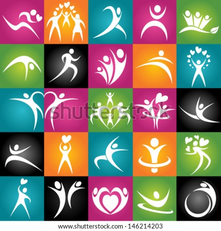 Healthy Young Adults. Active jumping people. Vector Illustration. Graphic Design Editable For Your Design. - stock vector