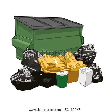 Heap od garbage in front of a dumpster - stock vector