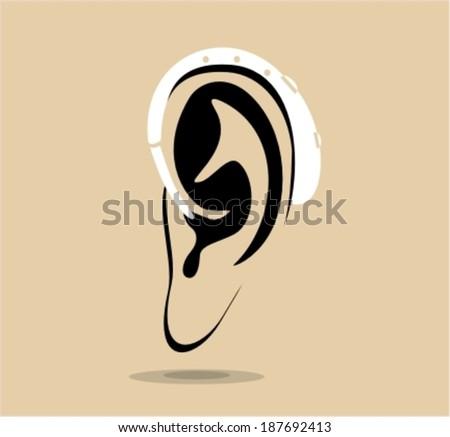 Hearing aid on ear -vector illustration - stock vector