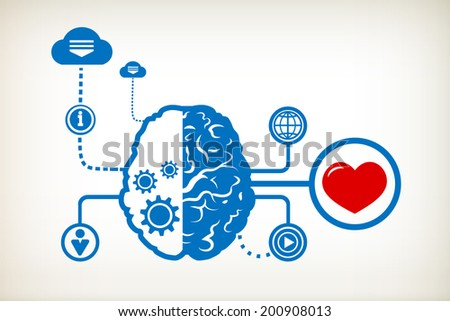 Heart and abstract human brain, the concept of the information movement - stock vector