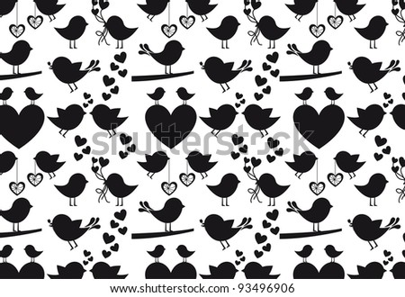 Heart and birds silhouettes on white background, vector silhouette - stock vector