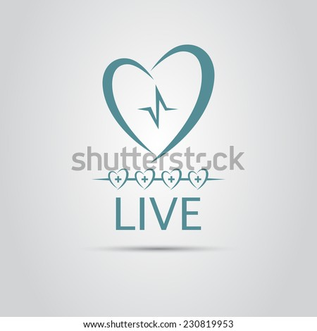 heart and heartbeat of the logo for the clinic or social program - stock vector