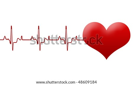 heart and heartbeat vector symbol - stock vector