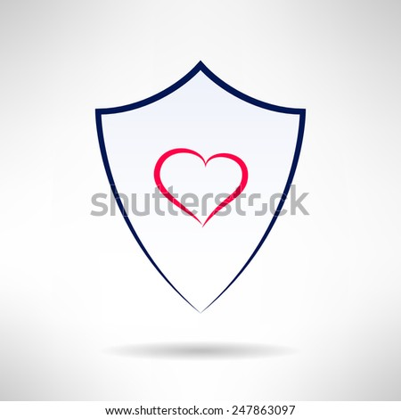 Heart and love simple thin lines shield icon. Health defence concept. Vector illustration - stock vector