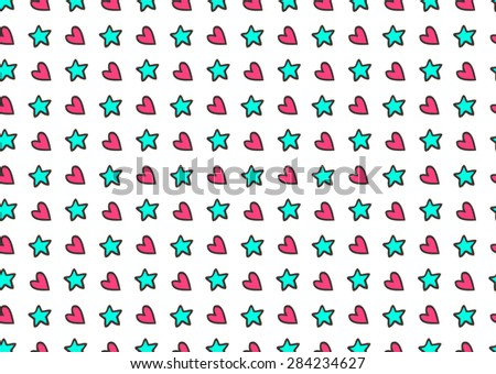 Heart and star cute background. - stock vector