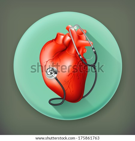 Heart and stethoscope, long shadow vector icon - stock vector