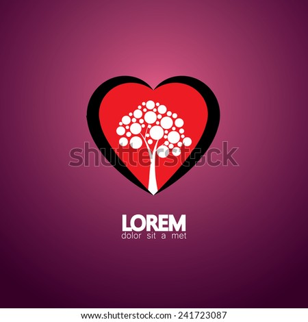 heart and tree concept of living healthy - eco vector icon. This graphic also represents nature conservation & protection, peace & harmony, balance & synergy, ecological thinking, etc - stock vector