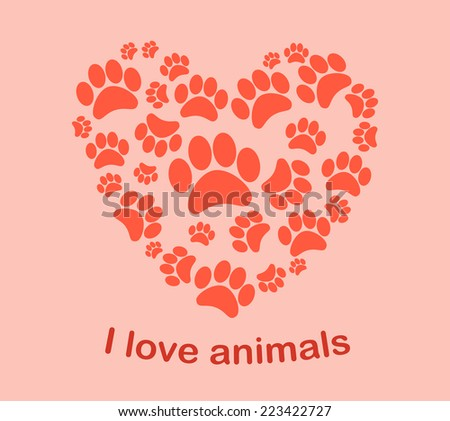 Heart animal's footprints vector illustration - stock vector