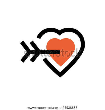 Heart, arrow, valentine's day, love line icon. Pixel perfect fully editable vector icon suitable for websites, info graphics and print media. - stock vector