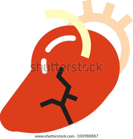 Heart attack icon with arteries and cracks to signify pain - stock vector