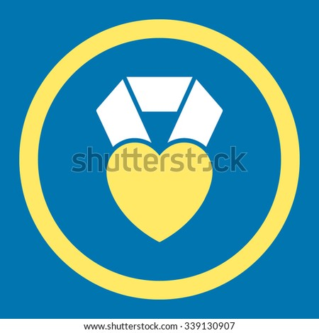 Heart Award vector icon. Style is bicolor flat rounded symbol, yellow and white colors, rounded angles, blue background. - stock vector