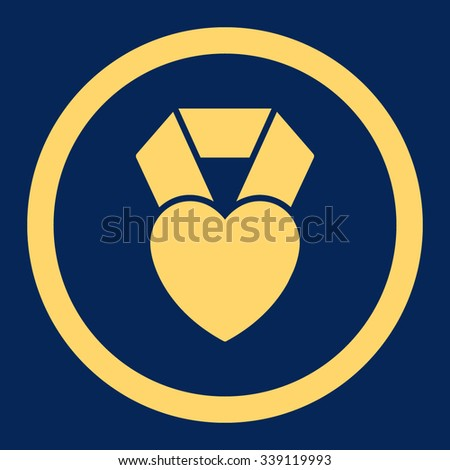 Heart Award vector icon. Style is flat rounded symbol, yellow color, rounded angles, blue background. - stock vector