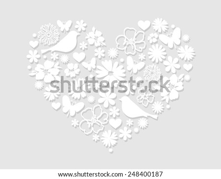Heart background with flowers, grey. Vector illustration. - stock vector