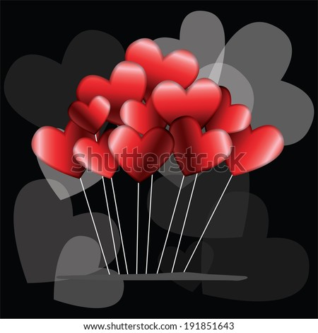 Heart balloons for Valentine's Day - stock vector
