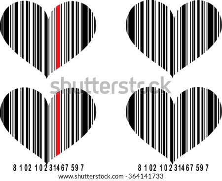 heart bar code isolated illustration - stock vector