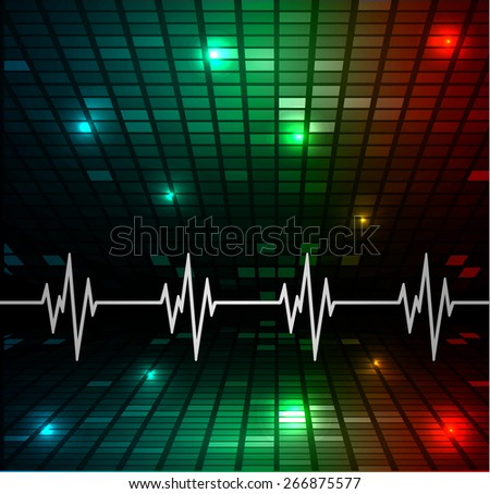 Heart beat, cardiogram. Pulse icon. blue red green background. Mosaic table, pixels - stock vector