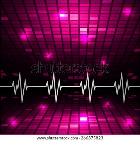 Heart beat, cardiogram. Pulse icon. pink background. Mosaic table, pixels - stock vector