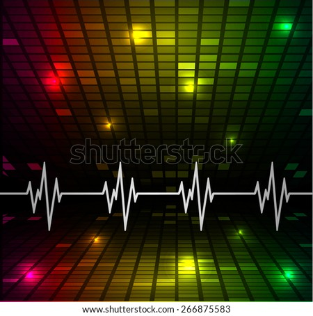Heart beat, cardiogram. Pulse icon. red yellow green background. Mosaic table, pixels - stock vector